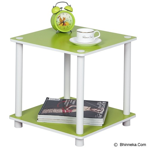 FUNIKA 2 Tier Mini Square Shelf [11214] - Green/White Tubes - Rak Mini